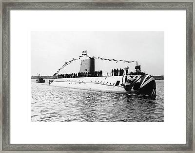 Uss Nautilus Submarine Launch Framed Print by Us Navy