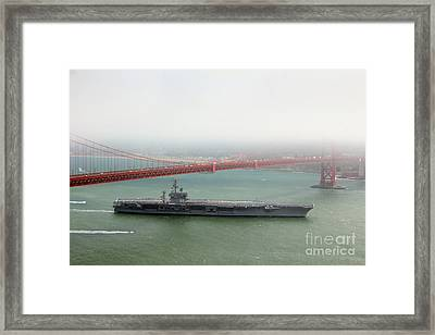 Uss Nimitz Cvn-68 Golden Gate Bridge Framed Print by Wernher Krutein