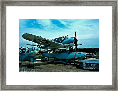 Uss North Carolina Kingfisher Framed Print by Tommy Anderson