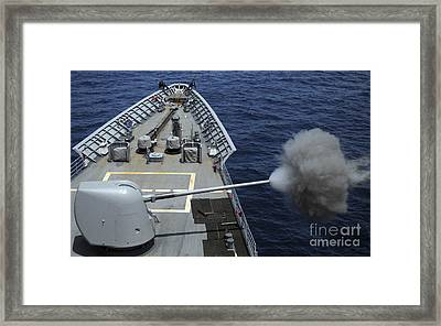 Uss Philippine Sea Fires Its Mk 45 Framed Print by Stocktrek Images
