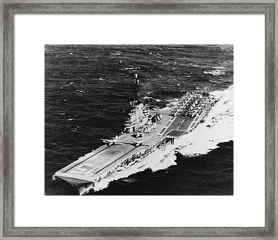 Uss Randolph Underway At Sea With Two Framed Print