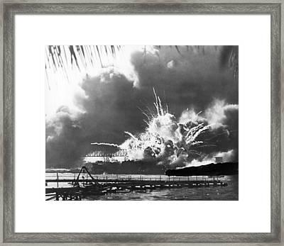 Uss Shaw Explodes Framed Print