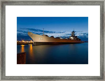 Uss Wisconsin At Sunset Framed Print by Jerry Gammon