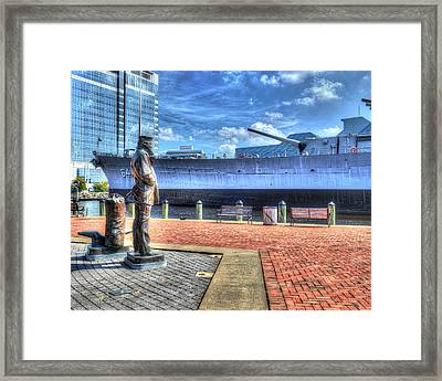 Uss Wisconsin Bb 64 And The Lone Sailor Framed Print