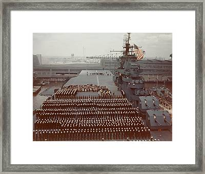 Uss Yorktown Crew Stands At Attention Framed Print by Stocktrek Images