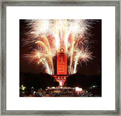 Ut Tower 2013 Fireworks Framed Print