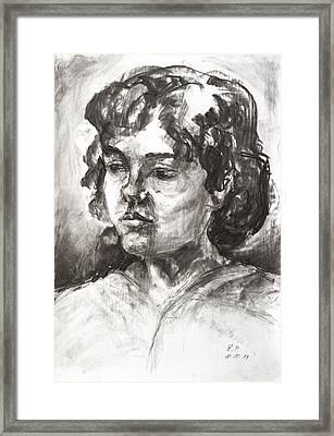 Uta With Short Hair Framed Print by Barbara Pommerenke