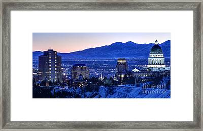 Utah Capitol And Oquirrh Mountains Winter Sunset Framed Print