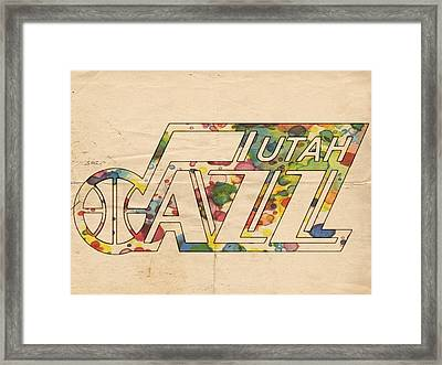 Utah Jazz Retro Poster Framed Print
