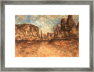 Utah Red Rocks - Landscape Art Painting Framed Print