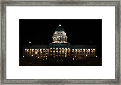 Framed Print featuring the photograph Utah State Capitol Front by David Andersen