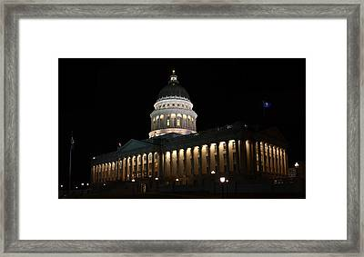 Framed Print featuring the photograph Utah State Capitol East by David Andersen