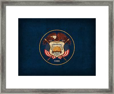 Utah State Flag Art On Worn Canvas Framed Print by Design Turnpike