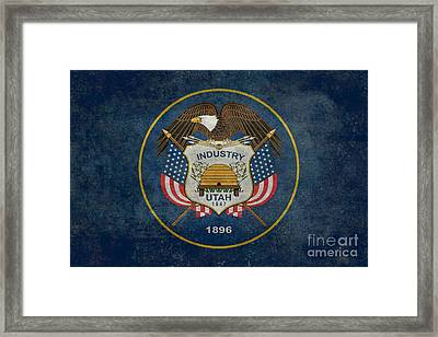 Utah State Flag Vintage Version Framed Print