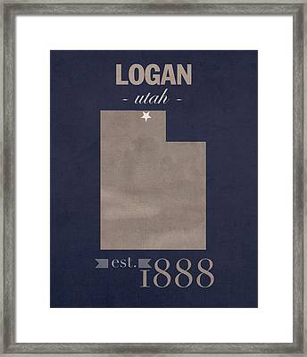 Utah State University Aggies Logan College Town State Map Poster Series No 117 Framed Print