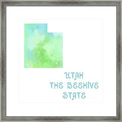 Utah - The Beehive State - Map - State Phrase - Geology Framed Print by Andee Design