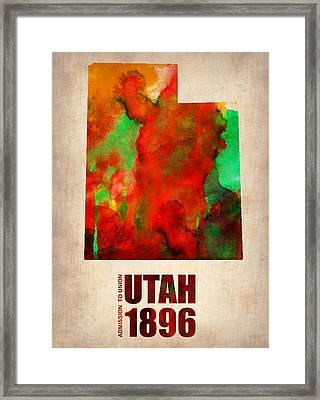 Utah Watercolor Map Framed Print by Naxart Studio