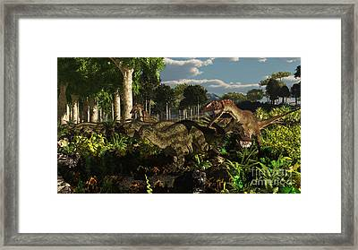 Utahraptors Hunting The Early Framed Print by Arthur Dorety