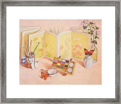 Utamaros Garden Wc On Paper Framed Print