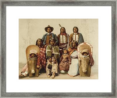 Ute Chief And His Family Framed Print by Underwood Archives