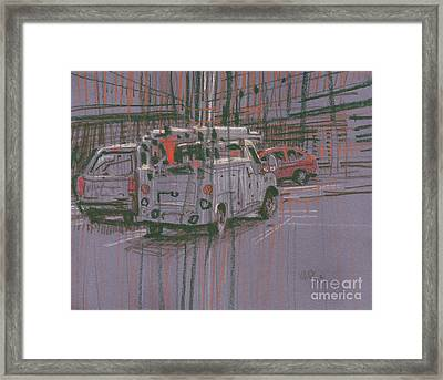 Framed Print featuring the painting Utility Truck by Donald Maier