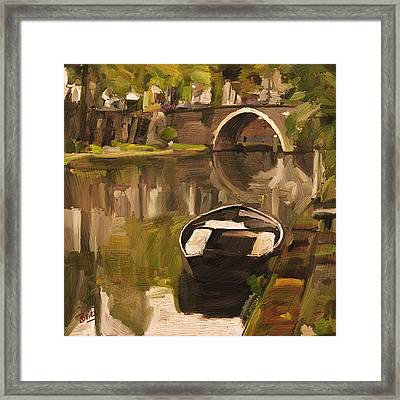 Framed Print featuring the painting Utrecht - Oude Gracht By Briex by Nop Briex