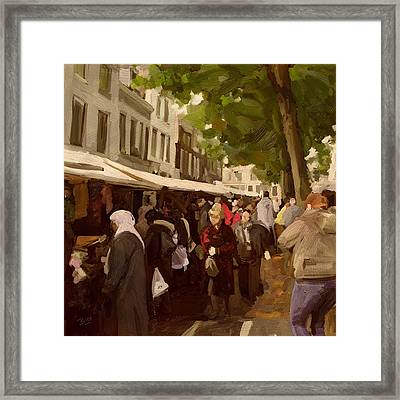 Framed Print featuring the painting Utrecht - The Saturday's Fabrics Market by Nop Briex