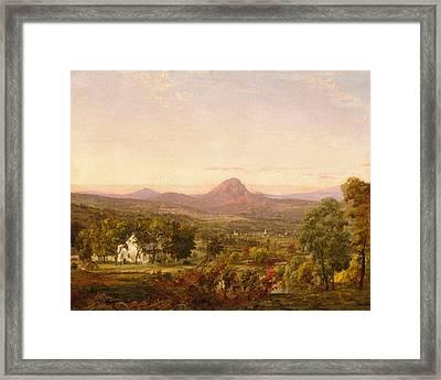 Autumn Landscape Sugar Loaf Mountain. Orange County  New York Framed Print by Jasper Francis Cropsey