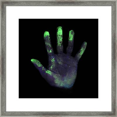Uv Light Showing Bacteria On Hand Framed Print by Science Photo Library