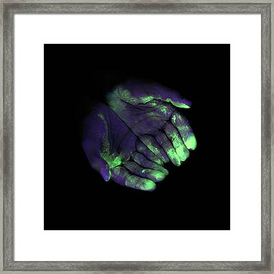 Uv Light Showing Bacteria On Hands Framed Print by Science Photo Library