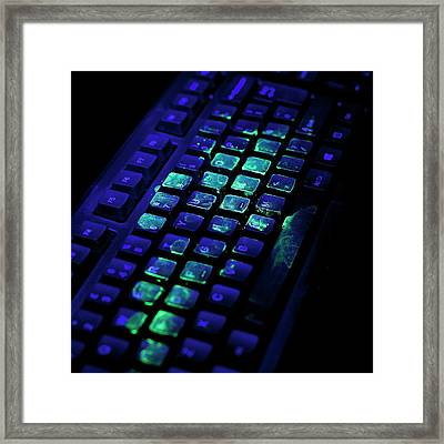 Uv Light Showing Bacteria On Keyboard Framed Print by Science Photo Library