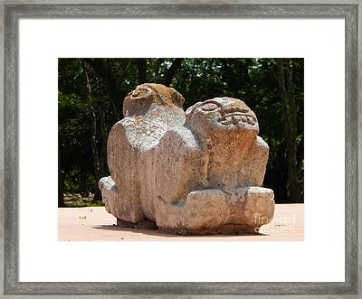 Uxmal Two Headed Jaguar Yucatan Mexico Framed Print by Michael Hoard