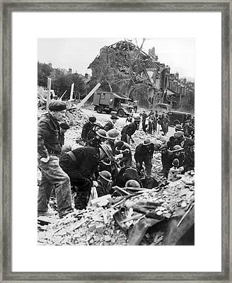 V-1 Bomb Rescue Workers Framed Print by Underwood Archives