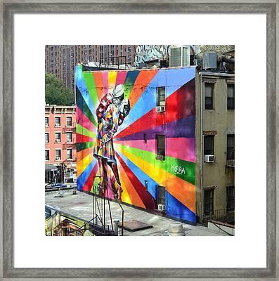 V - J Day Mural By Eduardo Kobra Framed Print