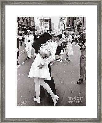 V J Day Times Square - 1945 Framed Print
