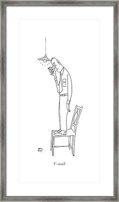 V-mail Framed Print by Saul Steinberg