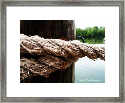 Framed Print featuring the photograph V2- Weathered Rope On The Dock  by Deborah Fay