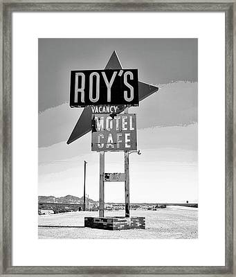 Vacancy Bw Route 66 Framed Print