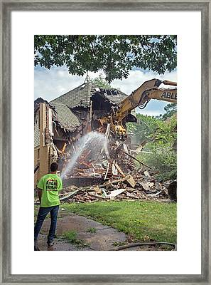 Vacant Home Demolition Framed Print by Jim West