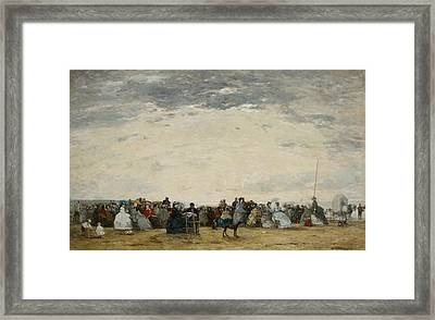 Vacationers On The Beach At Trouville Framed Print by Eugene Louis Boudin