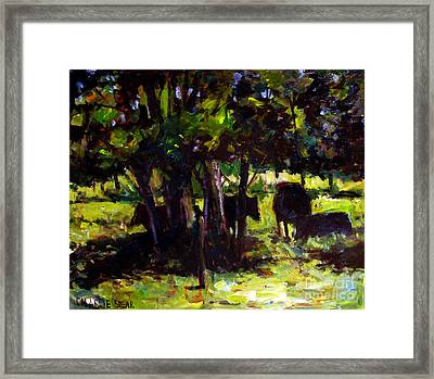 Vaches Dans Le Bois Framed Print by Charlie Spear