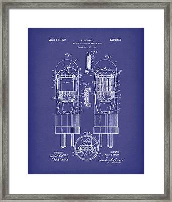Vacuum Tube 1929 Patent Art Blue Framed Print
