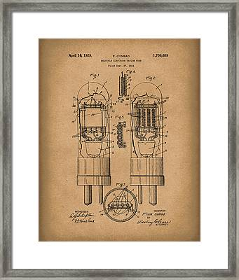 Vacuum Tube 1929 Patent Art Brown Framed Print