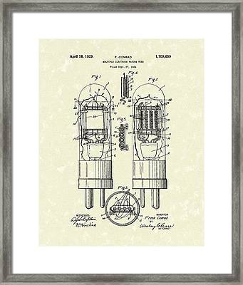 Vacuum Tube 1929 Patent Art Framed Print by Prior Art Design