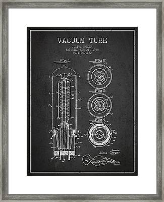 Vacuum Tube Patent From 1928 - Charcoal Framed Print