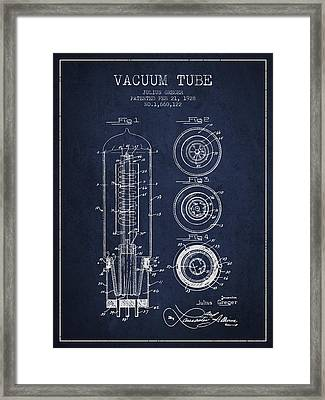 Vacuum Tube Patent From 1928 - Navy Blue Framed Print