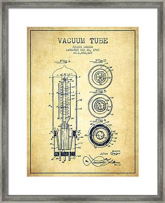 Vacuum Tube Patent From 1928 - Vintage Framed Print by Aged Pixel