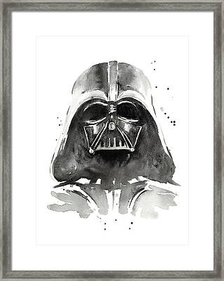 Darth Vader Watercolor Framed Print by Olga Shvartsur
