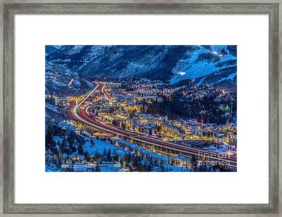 Vails Night Traffic Framed Print