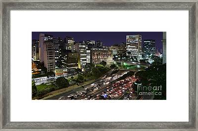 Vale Do Anhangabau By Night - Paulistano Downtown Icons Framed Print